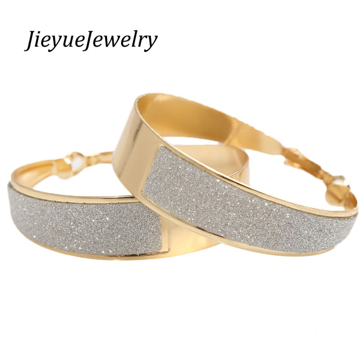 Charming Jewelery Fashion 1 Pair Summer Style Rhinestone Inlaid Hoop Round Woman Earrings Color Gold Silver Color
