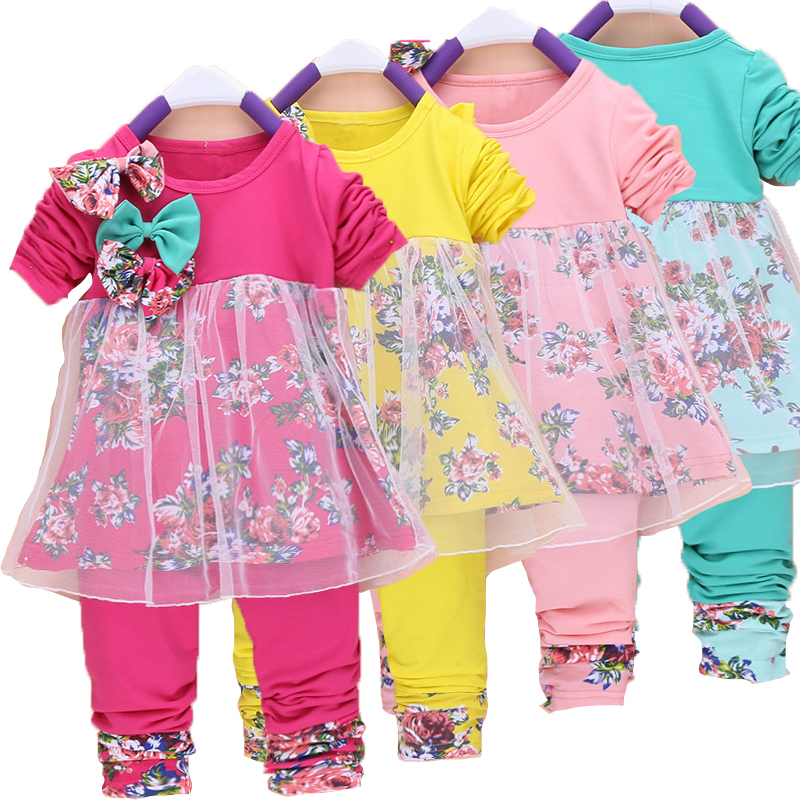 Baby Girl Clothing Sets T Shirt + Pants Toddler Girl Clothing Set Spring Autumn Little Girl Clothes Set Kids 2017 New fashion 2016 new girls flowers lace 3pcs clothes sets spring autumn kids coat long sleeved t shirt pants cute patter girl set high grade