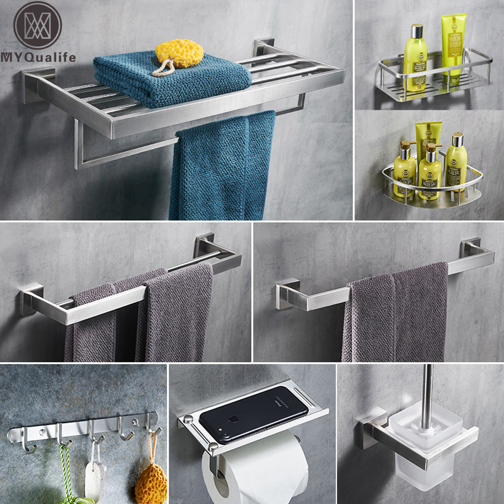 304 Stainless Steel Bathroom Accessories Set Wall Mount ...