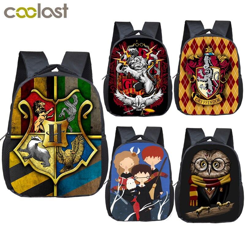 12 Inch Cartoon Hogwarts Gryffindor Slytherin Children School Bags For Boys Girls Kindergarten Backpack Kids Book Bag