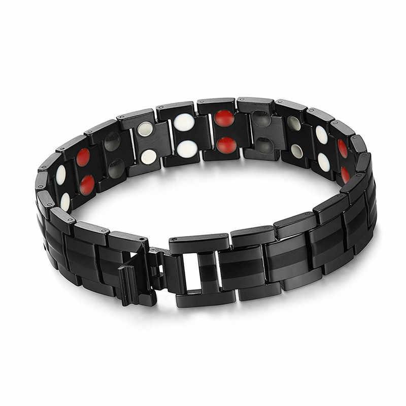 減量黒ブレスレット男性の手のチェーンエネルギー健康ゲルマニウム磁気ブレスレット男性ステンレススチールブレスレット