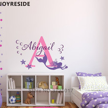 Mermaid Personalized Name Wall Decals Custom Names Sticker Girls Kids Bedroom Beautiful Decoration VInyl Design Decal M252