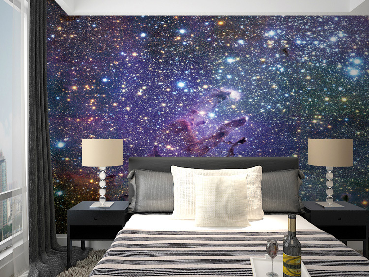 Mural starry sky background 3d 3d wallpaper murals nebula for Images of 3d wallpaper for bedroom