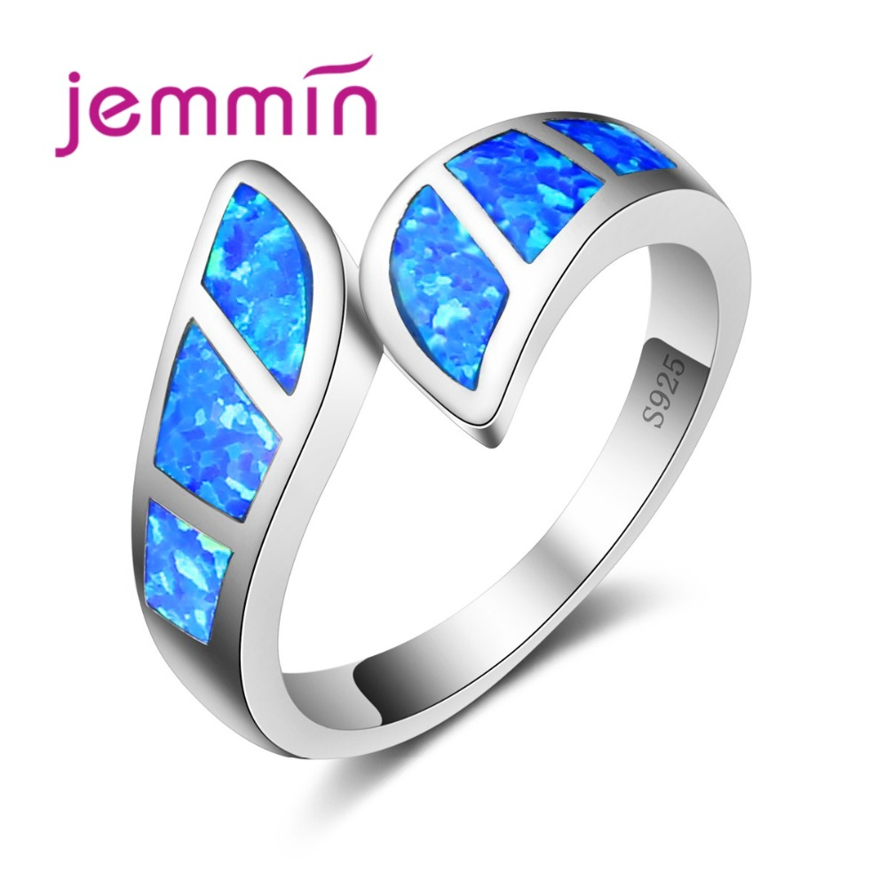 Vysoce kvalitní modrý oheň otevřený prsten pro party příslušenství značky geometrický tvar zásnubní zásilky stříbrné prsteny pro ženy