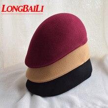 Зимние однотонные шерстяные фетровые Козырьки шапки для женщин унисекс Мужские береты шапки SADW012