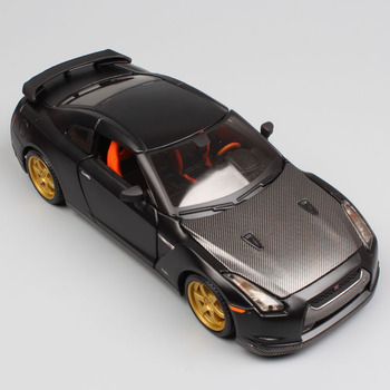 1:24 Scale mini children Nissan GTR 2009 GT-R R35 carbon fiber charger metal diecast model racing sport auto cars toys gift boys epr wholesale order r35 gtr carbon fiber spoiler raise lifter block
