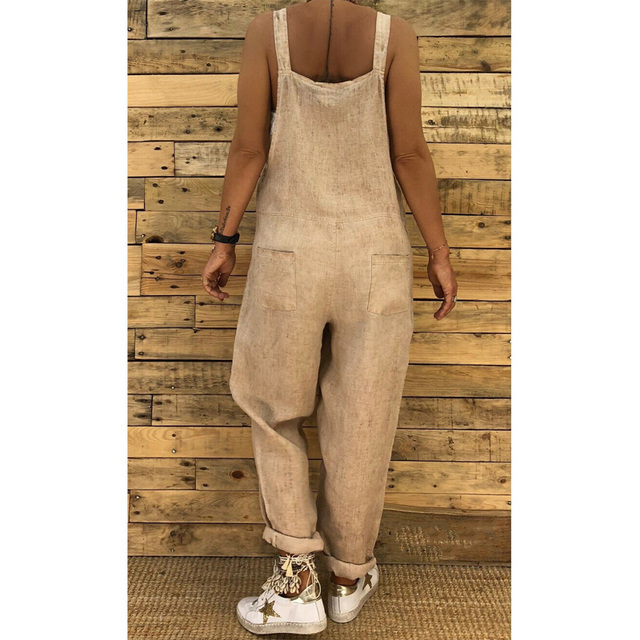 2019 Women Casual Solid Strappy Dungarees Vintage Cotton Linen Loose Party Long Harem Overalls Rompers Jumpsuits 5