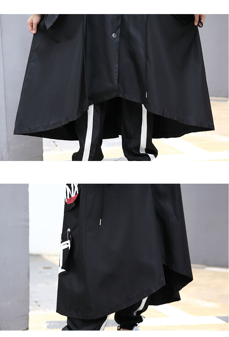 XITAO Spliced Plus Size Black Trench For Women Tide Long Print Streetwear Hoodie Casual Female Wide Waisted Coat 19 ZLL1100 18