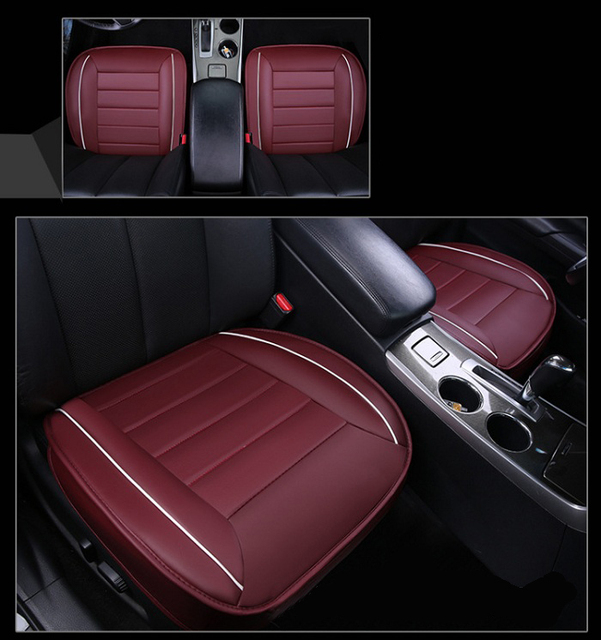 New Car Front Back Seat Covers Artifical PU Leather Patchwork Design Universal Fit SUV Sedans