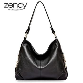 Zency New Model Women Shoulder Bag 100% Genuine Leather Handbag Classic Black Hobos Fashion Lady Crossbody Messenger Purse