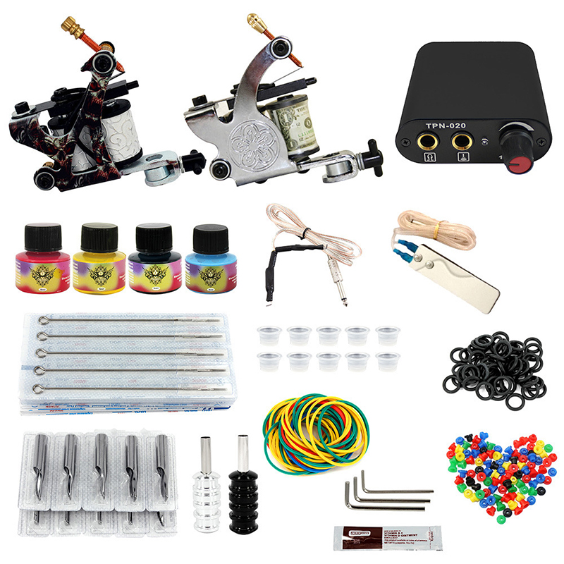 Complete profession Tattoo kits 10 wrap coils 2 guns machine 4 tattoo ink sets power supply disposable needle clip cord tattoo kit completed tattoo kits 8 wrap coils guns machine 4 color tattoo ink sets power supply disposable needle