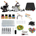 Complete profession Tattoo kits 10 wrap coils 2 guns machine 4 tattoo ink sets power supply disposable needle clip cord