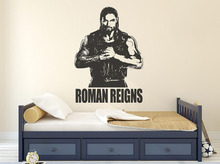 Roman Reigns Vinyl Wall Stickers Creative Design Wall Decal Superstar Wrestlers Decor Teens Room 3d Poster Wall Tattoo  SA568