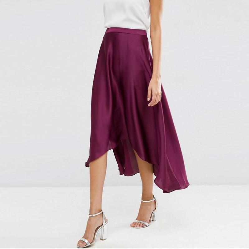 Grape Purple High Low Silk Chiffon Skirts For Women Ankle Length Adult Female Skirt  Zipper Custom Made Zipper Saia Faldas