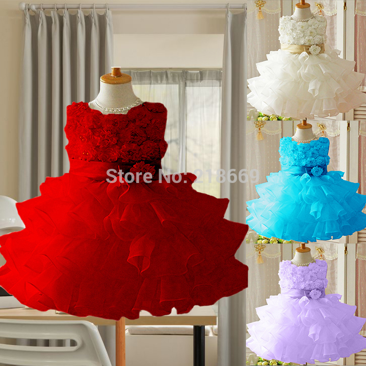 2015 Chirstmas Kids Girl Baby Dress Rose Baby Girl Princess Clothing Infant Dress With Bow Girl Formal Party Dress 19886