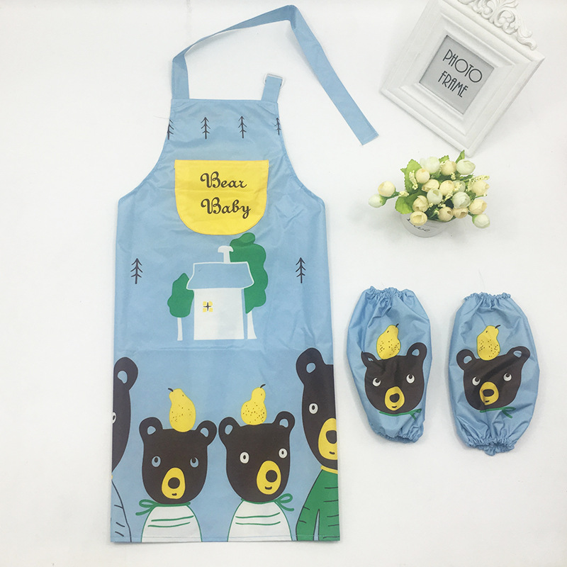 Household Cleaning Protections Lower Price with 1 Set Child Kids Cartoon Owl Apron Cuff Kit Kitchen Hello Art Kitty Baking Painting Waterproof Oversleeve Cleaning Drink Food Pe