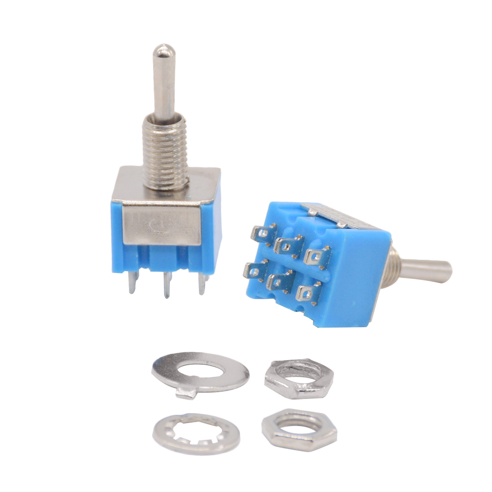 5pcs 3 Position MTS-203 6-Pin 6MM Mini SPDT ON-OFF-ON 6A 125VAC Mini Toggle Switch