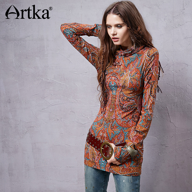 ARTKA 2018 Female Ethnic Vintage Floral Long Sleeve T shirt Fashion Stand Collar Thin T shirt