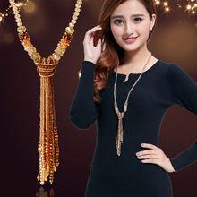Европейский стиль модное ожерелье из блестящих нитей с бусинами высокого качества с кристаллами и длинными кисточками для женщин