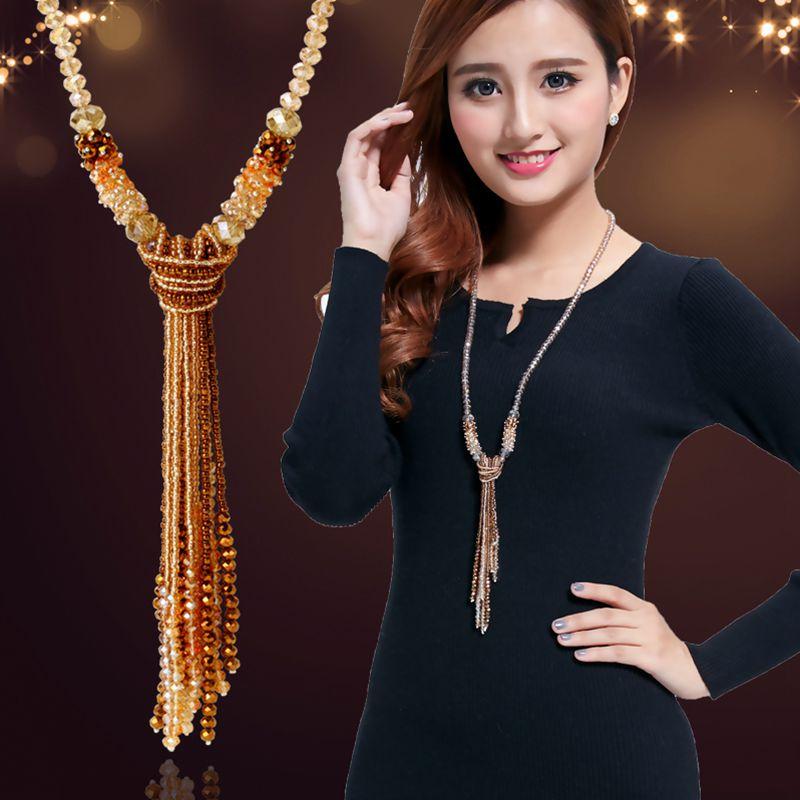 Europäischen stil mode kollokation von glänzenden string perlen halskette grade kristall lange quasten frauen