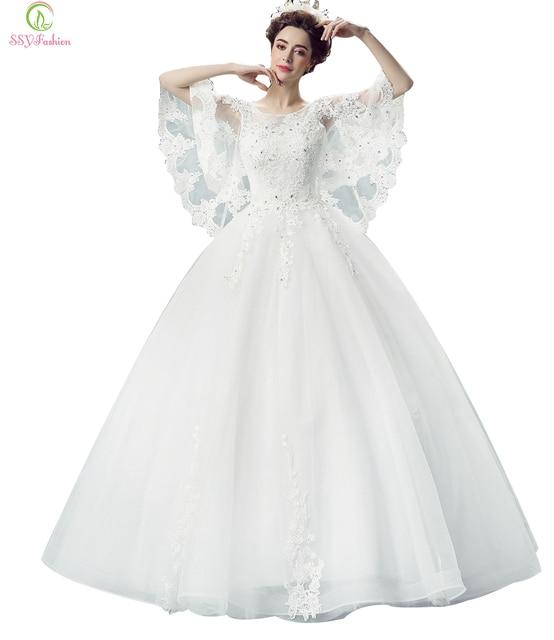 Ssyfashion Luksusowy Biały Motyle Koronki Rękawa Długa Suknia ślubna