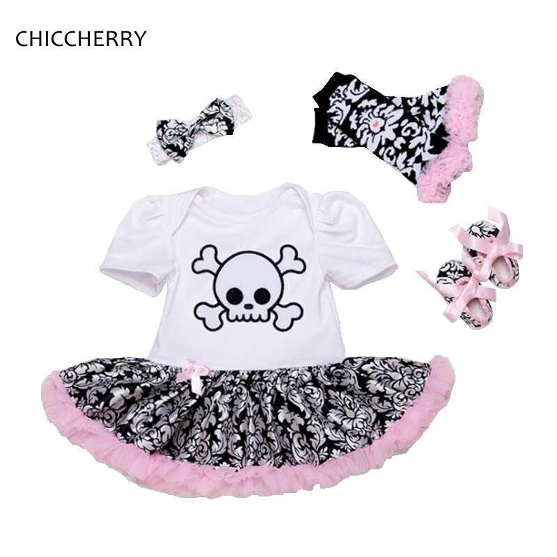Skull Pirates Baby Girl Halloween Costume Petti Romper Dress Headband Crib Shoes Leg Warmers Newborn Tutu Sets Infant Clothing