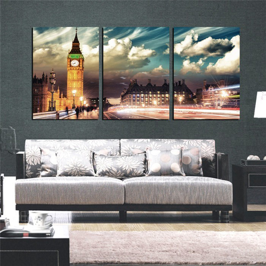 3 Piece London City Landscape Wall Art Decor Photo Canvas Print Big Ben  Modern Painting On The Wall Of Living Room Free Shipping