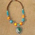 Tibet Nepal jóias étnicas colar medalha de liga de D-031