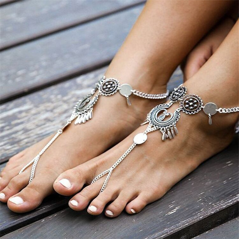 LOULEUR Bohemian Jewelry Antique Silver Color Hollow Flower Chain Anklets Beach Barefoot Sandals Foot Jewelry Boho Chic Anklets