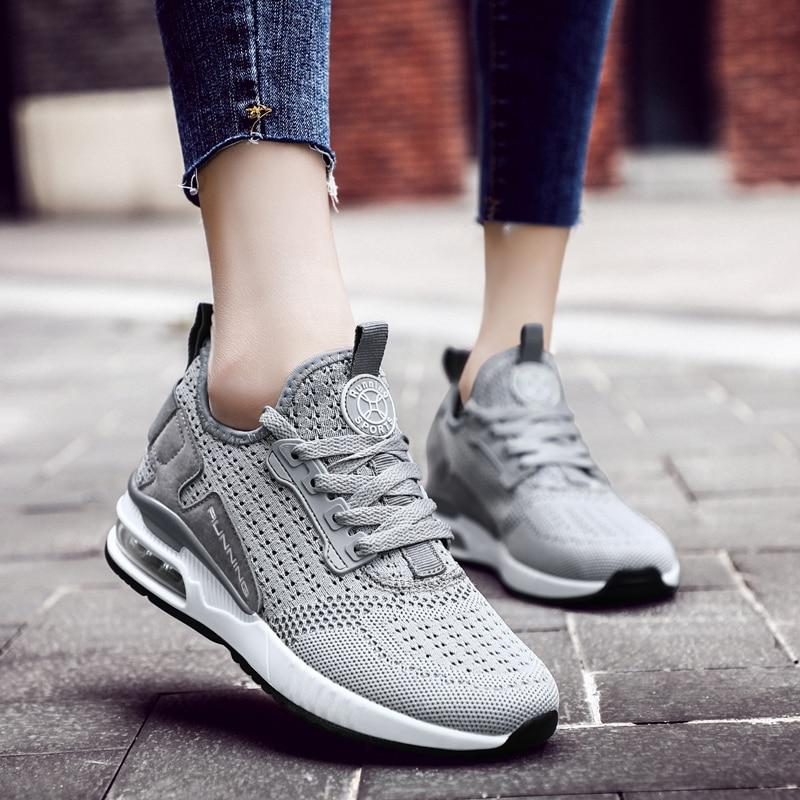 Women Running Shoes Grils Sneakers Walking Jogging Tracking Work Footwear Air Flat Fly Knit Ultralight Basket Gym Sport Shoes