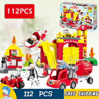 112pcs My First Fire Station Town Fire Truck Rescue Team Firefighter Figure Building Blocks Toy Compatible With LegoING Duplo
