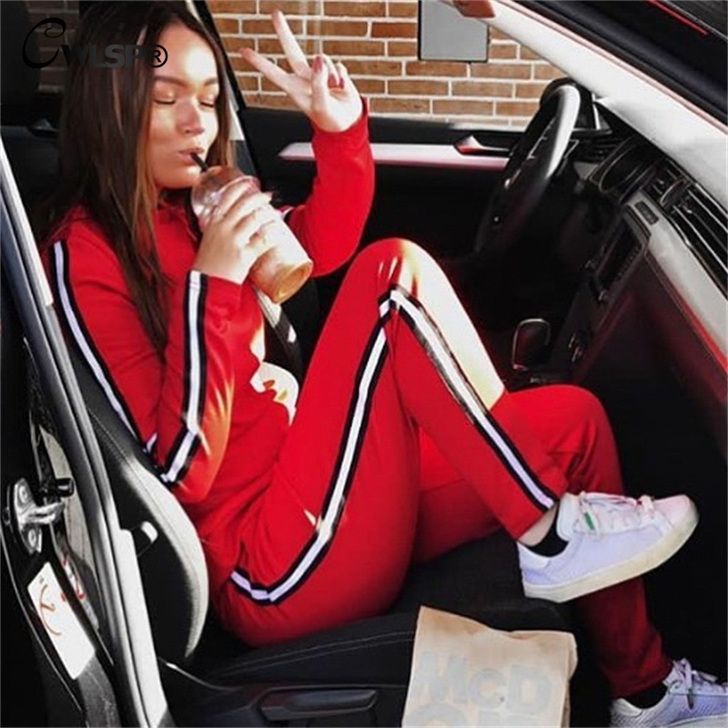CWLSP Autumn Casual Side Striped Tracksuit for Women Skinny Patchwork 2 Pieces Sets Sportswear ropa deportiva mujer QL4142 1