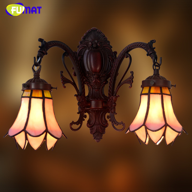 FUMAT Stained Glass Wall Sconce Wall Lights Art Glass Shade abajur ...