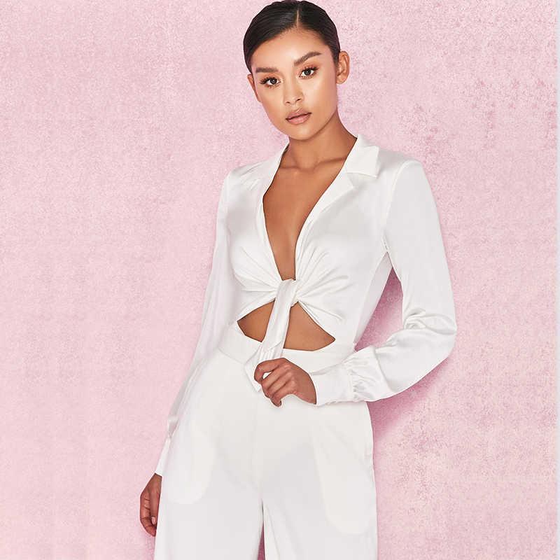 NewAsia Garden Fashion Sexy Bodysuit Autumn Jumpsuit Women Faux Silky Satin Bodysuit Long Sleeve Silk Playsuit Romper Body Mujer