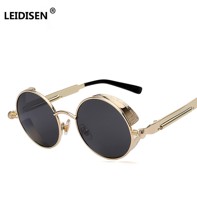d22895b2b5 LEIDISEN Gold Metal Polarized Sunglasses Gothic Steampunk Sunglasses Mens  Womens Fashion Retro Vintage Shield Eyewear Shades