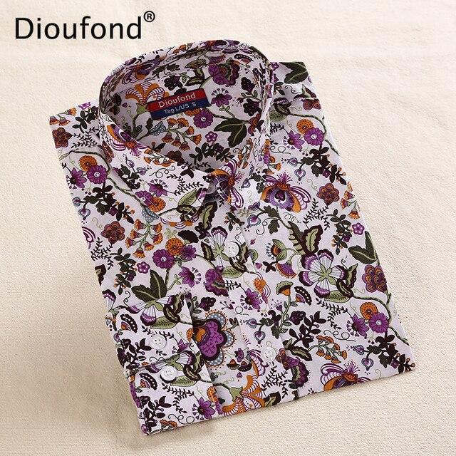 Dioufond цветочные рубашки Для женщин блузки блузка хлопок Blusa Feminina рубашка с длинными рукавами Для женщин топы и блузки 2016 Новая Мода 5XL