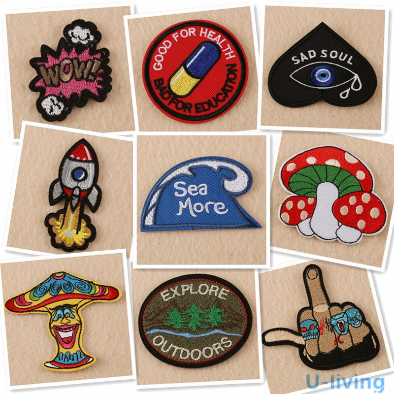 1pcs Mix Fashion Patches For Clothing Iron On Embroidered Sew Applique Cute Patch Fabric Badge ...