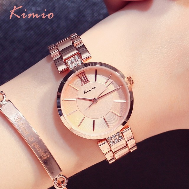 KIMIO Simple Thin Rhinestone Rose Gold Quartz Watches Women Fashion 2019 Ladies Watch Womens Watches Dress Wristwatch For Women