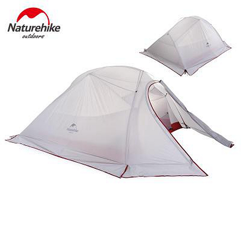 2.02 KG Naturehike Tent 3 Person 20D Silicone Fabric Double Layer Rainproof Outdoor Camping Tent With Snow Skirts Foot Print naturehike 1 person camping tent with mat 3 season 20d silicone 210t polyester fabric double layer outdoor rainproof camp tent
