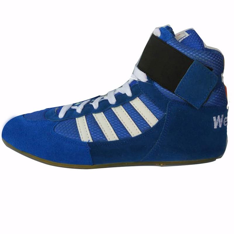 Аутентичные VeriSign борцовские ботинки для мужчин, тренировочная обувь, сухожилия в конце, кожаные кроссовки, профессиональная боксерская обувь - Цвет: blue