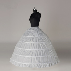 Image 2 - High Quality 6 Hoops Bridal Wedding White Petticoat Marriage Gauze Skirt Crinoline Underskirt Wedding Accessories Jupon Mariage