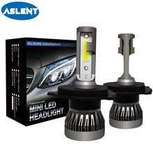 Aslent супер мини Размеры H4 светодиодный 9005 HB3 9006 HB4 H7 H11 H8 H1 лампа для автомобиля лампа фары светодиодный лампы для автомобилей 72 W 8000LM 6000 K 12 V