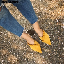 купить TINGHON Women Slippers Flat Women Shoes Slip On Flat Mules Fashion Ruffles Ladies Shoes Fabric Platform Loafer Flip Flop по цене 1319.92 рублей