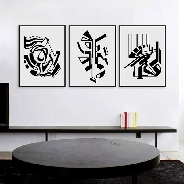 Modern minimalist nordic black white symbol a4 large art for Modern black and white wall art