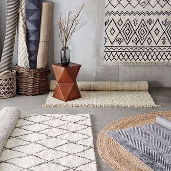 collalily Kilim handmade Carpet geometric Bohemia Indian Rug plaid striped Modern black white design Nordic style