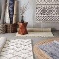 Collalily Kelim handgemachte Teppich geometrische Böhmen Indische Teppich plaid striped Modernen schwarz weiß design Nordischen stil