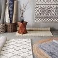 Collalily Kilim alfombra hecha a mano geométrica Bohemia India alfombra a cuadros a rayas moderno negro blanco diseño estilo nórdico