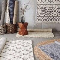 Collalily Kilim 100 Cotton Handmade Carpet Geometric Bohemia Indian Rug Plaid Striped Modern Black White Design