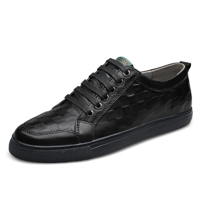Plus Tamaño blcak euro38-48 nueva primavera cuero genuino de los hombres pisos ocio plegable zapatos de conducción suave transpirable zapatos casuales hombres