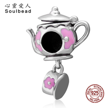 ФОТО soulbead enamel 925 sterling silver teapot and cup charm bead with pink enamel fit pandora charms bracelets cws0120